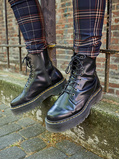 close up of dr martens rometty heeled boots